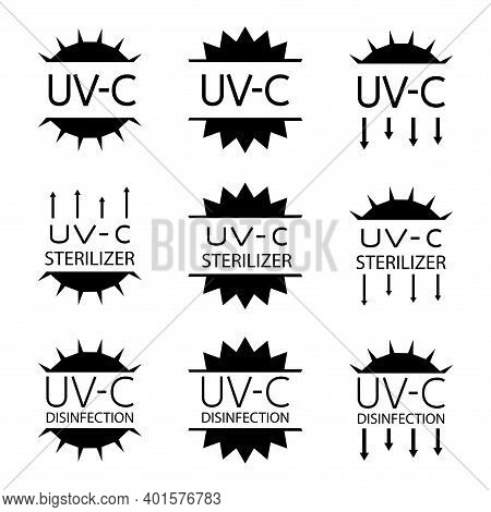 Information Signs For Packaging Markings With Uv Devices Inside. Uv-c Sterilizer And Disinfection St