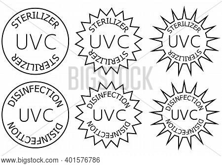 Uv-c Sterilizer And Disinfection Stamp. Sanitation Device Information Sign. Round Badges. Antimicrob