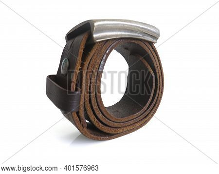 Dark Brown Leather Belt With Metal Buckle, Female Accessory. Isolated On White Background