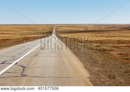 Bagakhangai Choir Road, Asphalt Road In The Mongolian Steppe, Mongolia