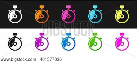 Set Stopwatch Icon Isolated On Black And White Background. Time Timer Sign. Chronometer Sign. Vector