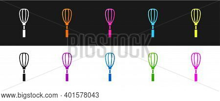 Set Kitchen Whisk Icon Isolated On Black And White Background. Cooking Utensil, Egg Beater. Cutlery