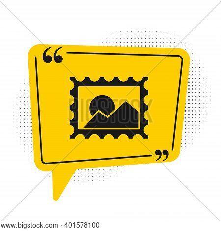 Black Postal Stamp Icon Isolated On White Background. Yellow Speech Bubble Symbol. Vector Illustrati