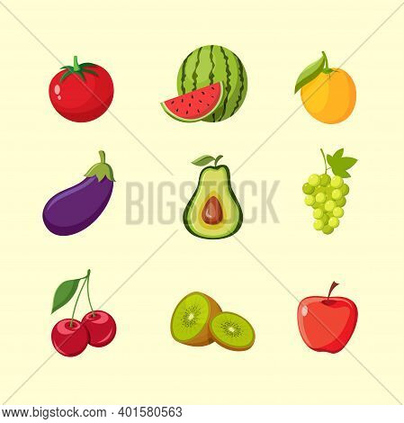 A Collection Of Vector Illustrations Of Fresh Fruits And Vegetables, Such As Apple, Grape, Kiwi, Wat