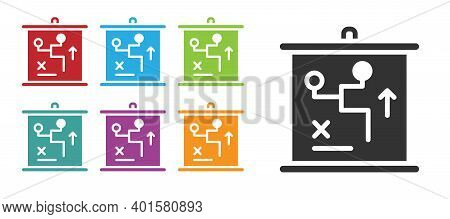Black Planning Strategy Concept Icon Isolated On White Background. Cup Formation And Tactic. Set Ico