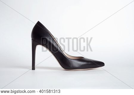 Classic Black Stiletto Heels On A White Background.