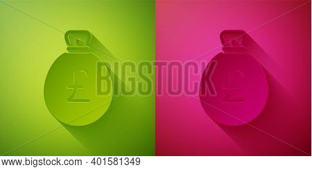 Paper Cut Money Bag With Pound Icon Isolated On Green And Pink Background. Pound Gbp Currency Symbol
