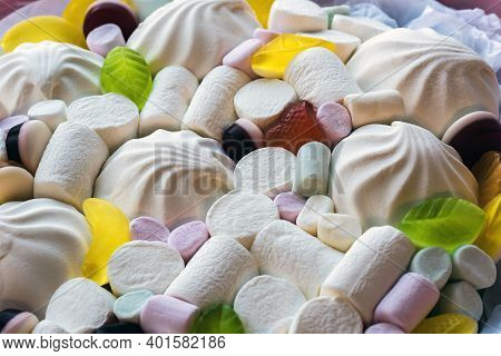 Set Of Sweets From Marshmallows And Jelly Candies Close Up