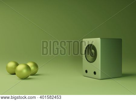 3d Rendering Of Realistic Audio Speakers And Green Ball At Home Theater Design Minimal Illustration