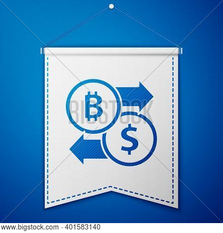 Blue Cryptocurrency Exchange Icon Isolated On Blue Background. Bitcoin To Dollar Exchange Icon. Cryp