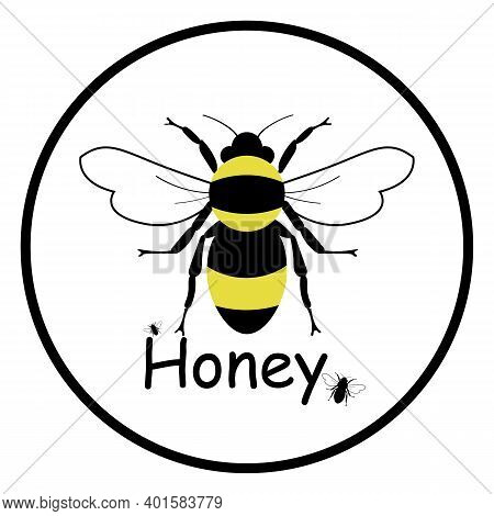 Bee Logo. Honey Icon. Simple Bee On A White Background, Logo. Vector Illustration