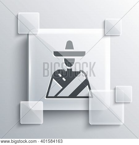 Grey Mexican Man Wearing Sombrero Icon Isolated On Grey Background. Hispanic Man With A Mustache. Sq