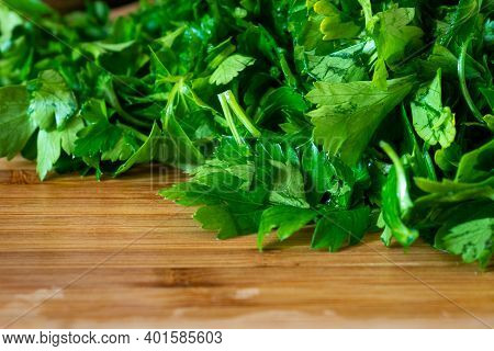 Chopped Parsley On A Wooden Chopping Board, Greenery
