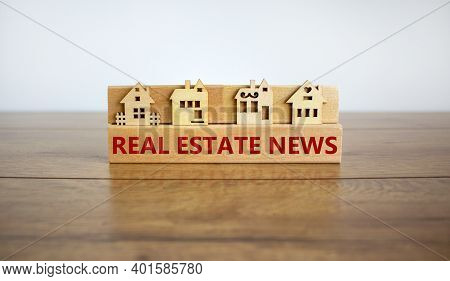 Real Estate News Symbol. Wooden Blocks Form The Words 'real Estate News', Miniature House, Wooden Ta