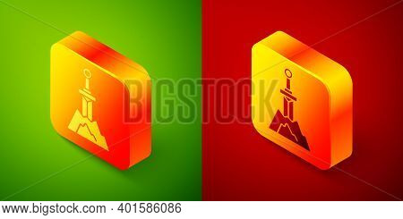 Isometric Sword In The Stone Icon Isolated On Green And Red Background. Excalibur The Sword In The S