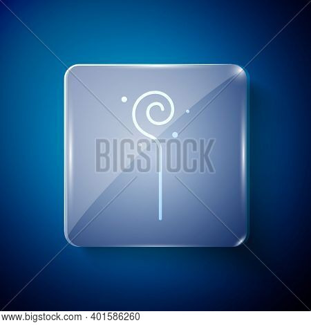 White Magic Staff Icon Isolated On Blue Background. Magic Wand, Scepter, Stick, Rod. Square Glass Pa