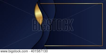 Abstract Blue Gradient Color Wave Shape With Gold Stripes And Frame Overlap Layers On Dark Blue Back