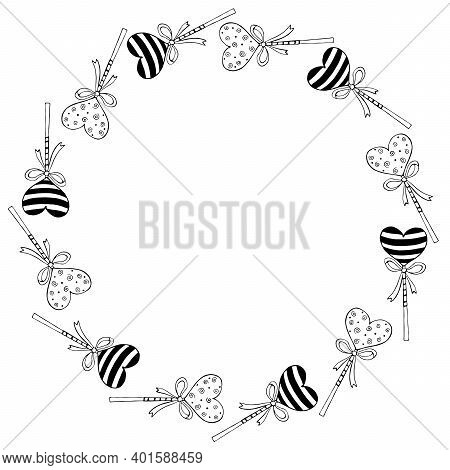 Vector Round Frame, Border From Lollipop, Gingerbread On Stick In Shape Of Heart With Bow. Backgroun