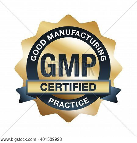 Gmp Certified Golden Emblem - Good Manufacturing Practices Conforming To The Guidelines Recommended