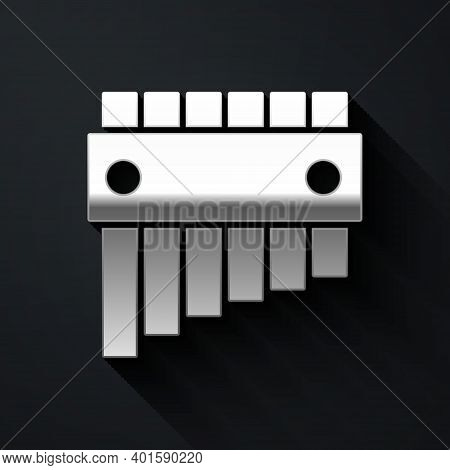 Silver Pan Flute Icon Isolated On Black Background. Traditional Peruvian Musical Instrument. Folk In
