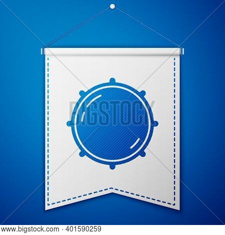 Blue Dial Knob Level Technology Settings Icon Isolated On Blue Background. Volume Button, Sound Cont