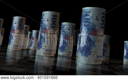 Swiss Francs Money Banknotes Rolls