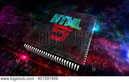 Html5 Programming Symbol And Processor Factory 3D Illustration