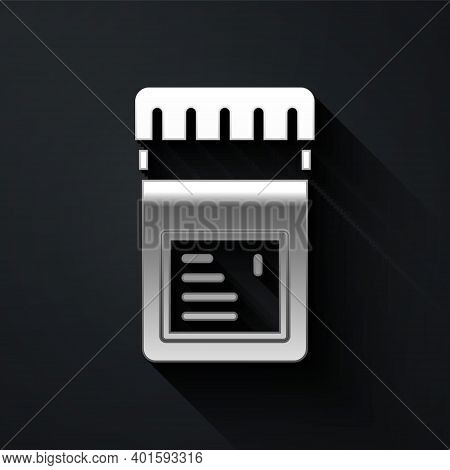 Silver Biologically Active Additives Icon Isolated On Black Background. Long Shadow Style. Vector