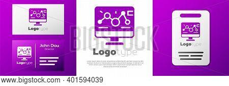 Logotype Genetic Engineering Modification On Laptop Icon Isolated On White Background. Dna Analysis,