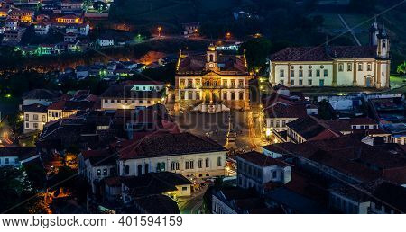 Travel Bucket List . Ouro Preto , Brazil. Spectacular Night  View Of Historic City In Minas Gerais.