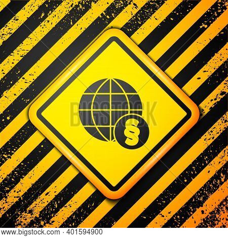 Black International Law Icon Isolated On Yellow Background. Global Law Logo. Legal Justice Verdict W