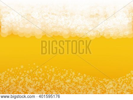 Lager Beer. Background With Craft Splash. Oktoberfest Foam. Bubbly Pint Of Ale With Realistic White