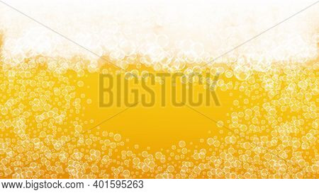 Craft Beer Background. Lager Splash. Oktoberfest Foam. Froth Pint Of Ale With Realistic White Bubble