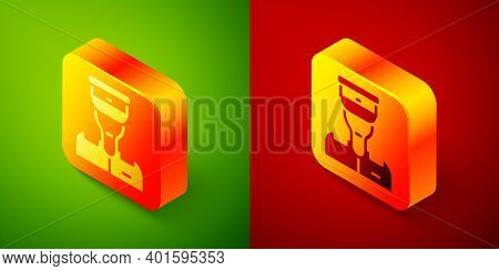Isometric Train Conductor Icon Isolated On Green And Red Background. Square Button. Vector
