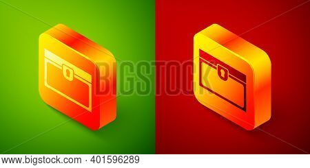 Isometric Antique Treasure Chest Icon Isolated On Green And Red Background. Vintage Wooden Chest Wit