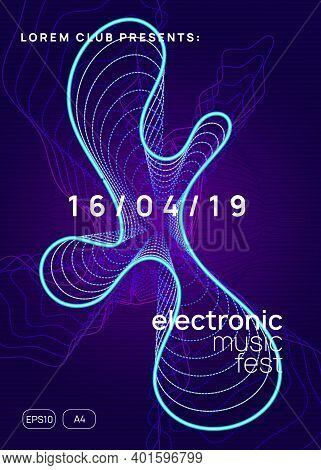 Trance Event. Dynamic Gradient Shape And Line. Minimal Show Banner Concept. Neon Trance Event Flyer.