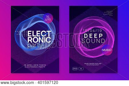 Music Poster. Minimal Concert Magazine Set. Dynamic Fluid Shape And Line. Neon Music Poster. Electro