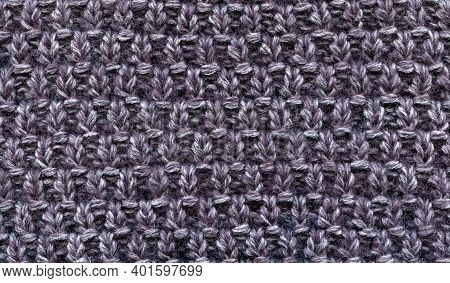 Simple Knitted Woolen Fabric Pattern, Knitting. Warm Cozy Background