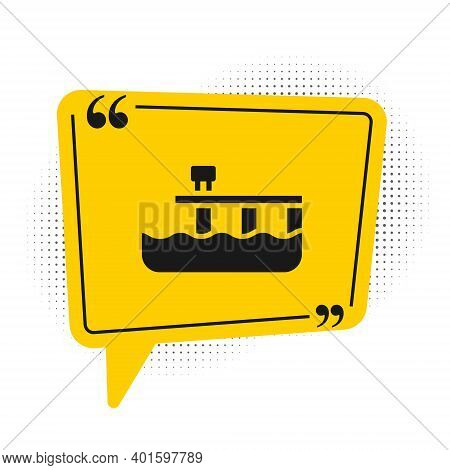 Black Beach Pier Dock Icon Isolated On White Background. Yellow Speech Bubble Symbol. Vector