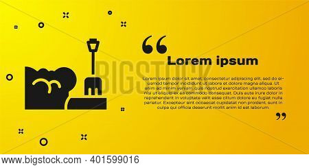 Black Shovel In Snowdrift Icon Isolated On Yellow Background. Vector