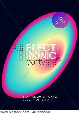 Music Poster. Fluid Holographic Gradient Shape And Line. Minimal House Event Cover Layout. Electroni