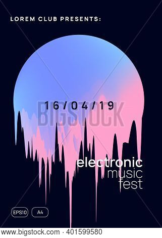 Summer Music. Fluid Holographic Gradient Shape And Line. Creative Techno Event Brochure Template. El