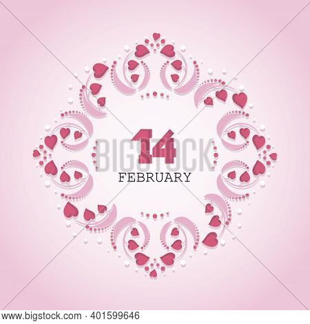 Valentines Day. 14 February. Decorative Diamond Frame. Vector Openwork Background. Greeting Card, Fe