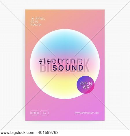 Summer Music. Electronic Sound. Night Dance Lifestyle Holiday. Fluid Holographic Gradient Shape And