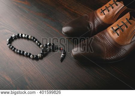 Men's Accessories. Mens Brown Shoes And Rosary