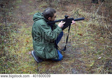 Unformal shooting range near Kiev. January 1, 2021. Kiev Region, Ukraine
