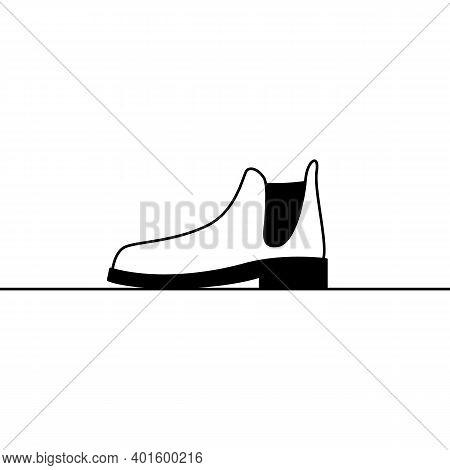 Shoe Icon. Outline Vector Icon Of Stylish Shoe, Classic Chelsea Boot. Black And White Linear Illustr