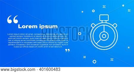 White Line Stopwatch Icon Isolated On Blue Background. Time Timer Sign. Chronometer Sign. Vector Ill