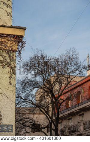External Walls From An Old Buildings In Prague 6, Close To Hradcanska Tram Station At The Beginning