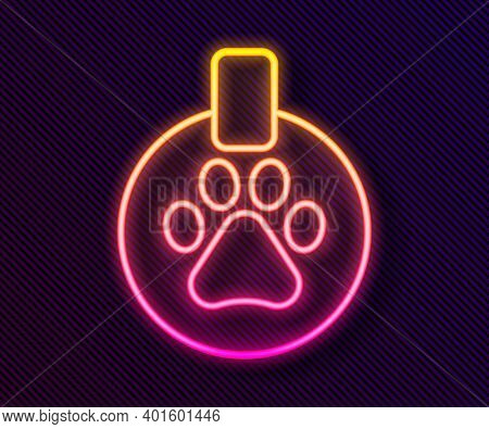 Glowing Neon Line Collar With Name Tag Icon Isolated On Black Background. Supplies For Domestic Anim